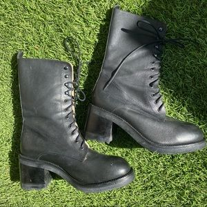VINTAGE Steve Madden Chunky Leather Combat Boots 8